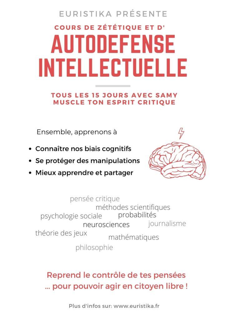 Flyer de présentation des cours citoyens de zététique et autodéfense intellectuelle d'Euristika.